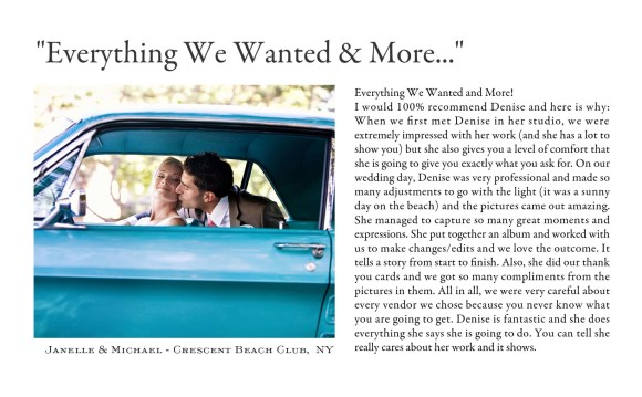New York City Wedding Photographers Testimonials