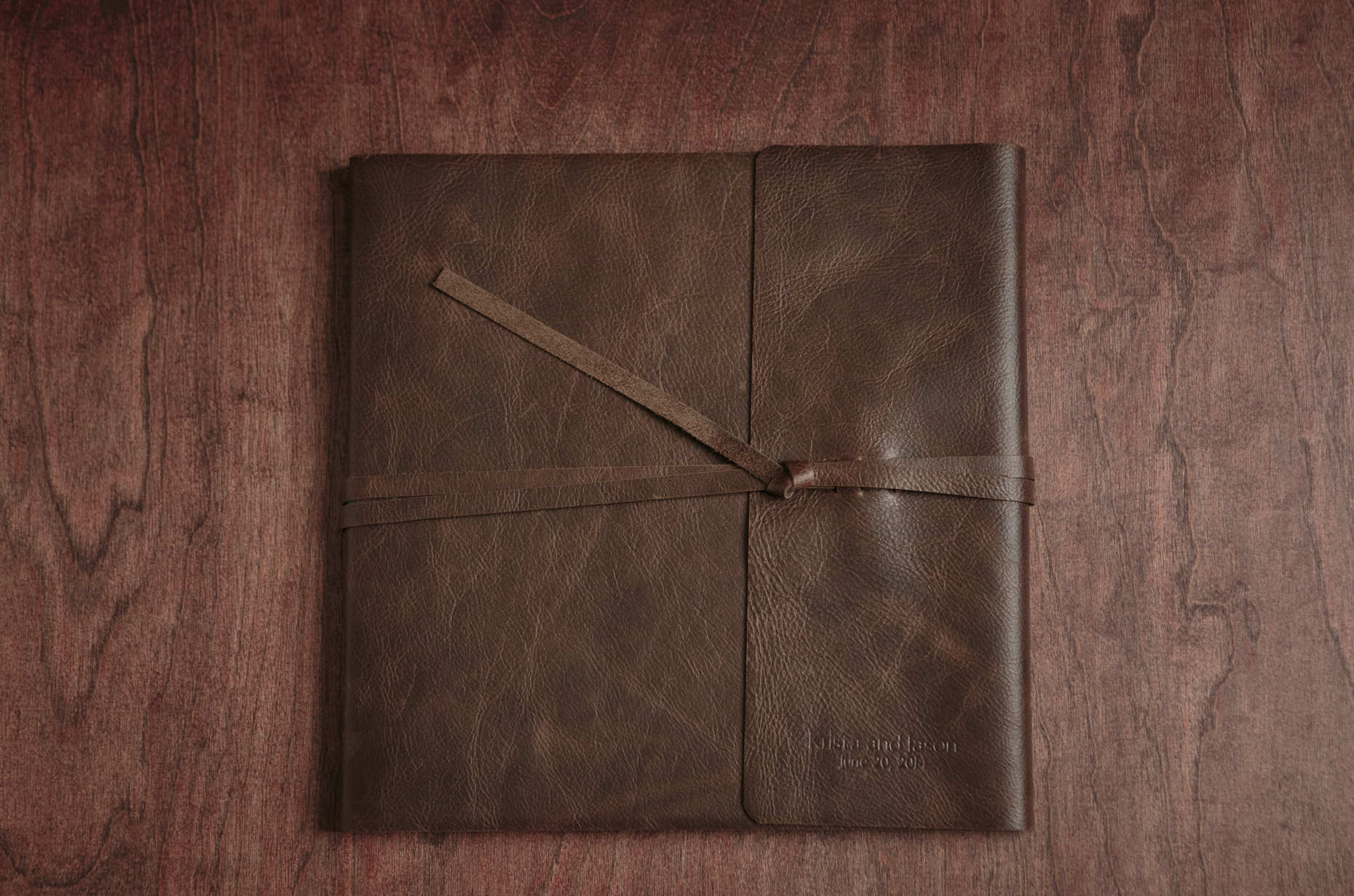 leather bound fine art wedding album textured brown leather cover
