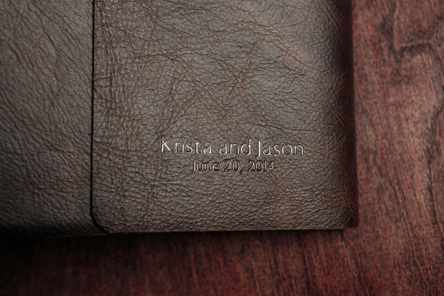Journal Style Leather Bound Fine Art Wedding Album Embossing