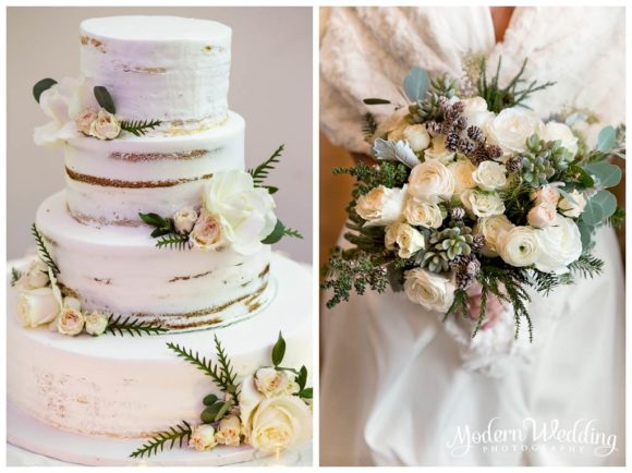 Bourne Mansion Wedding Cake and Flowers