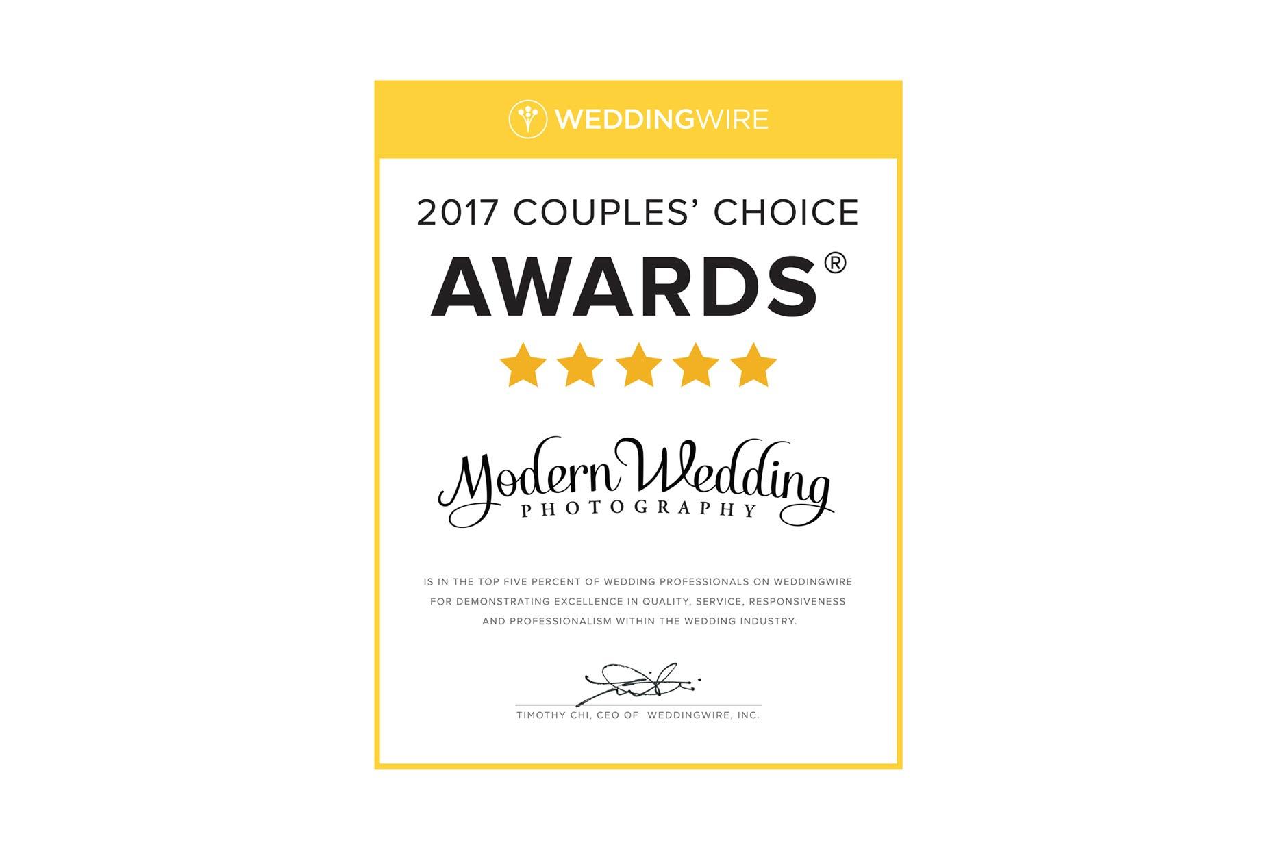 WeddingWire Award 2017