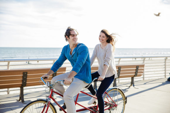 Tandem Bicycle Engagement Shoot Long Beach NY