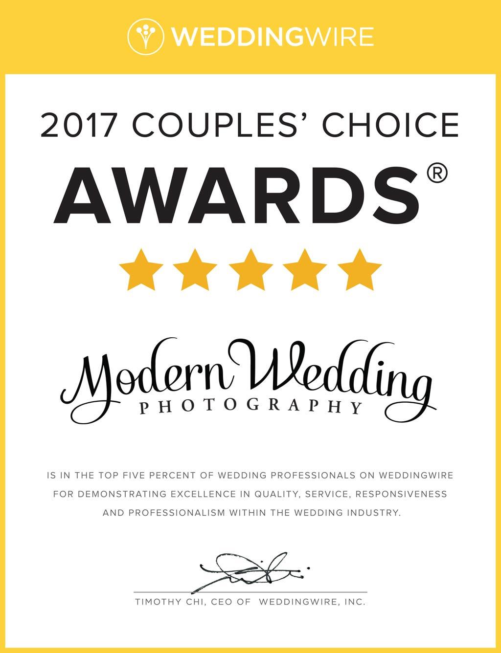 WeddingWire 2017 Couples Choice Awards Badge
