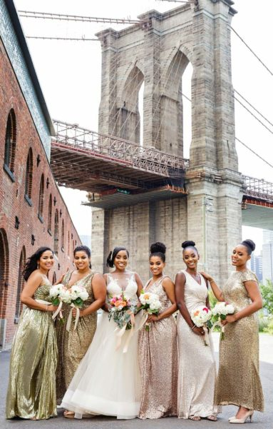 Bride with Bridesmaids at Brooklyn Bridge Park