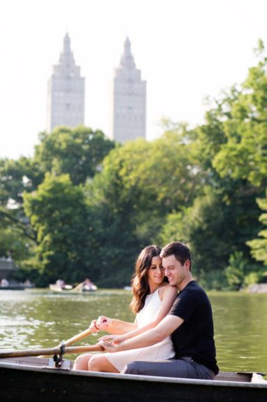 Couple at Central Park BoathouseNew York City Wedding Photographers