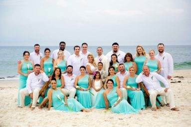 Large Bridal Party Portrait at Ocean Bleu