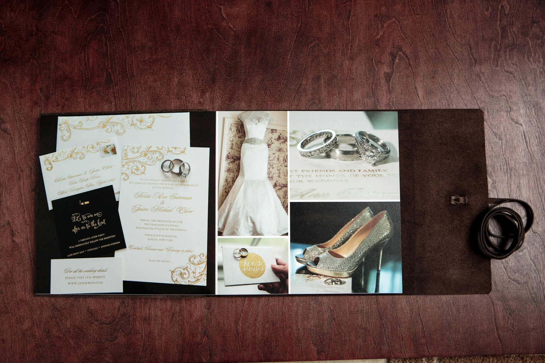 journal style leather bound fine art wedding album two page 24 x 12 spread