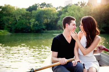 Central Park Engagement Shoot Couple in Row Boat