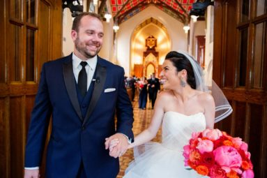 Bride and Groom Excit the churchNew York City Wedding Photographers