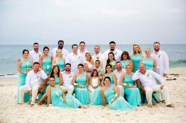 Large Bridal Party Portrait at Ocean Bleu